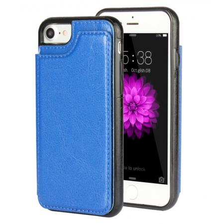 Fashion TPU Leather Credit Card ID Holder Wallet Case Cover for iPhone 7 4.7 inch - Blue