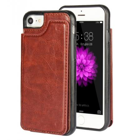 Fashion TPU Leather Credit Card ID Holder Wallet Case Cover for iPhone 7 4.7 inch - Brown
