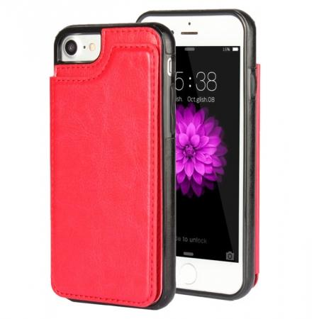 Fashion TPU Leather Credit Card ID Holder Wallet Case Cover for iPhone 7 4.7 inch - Red