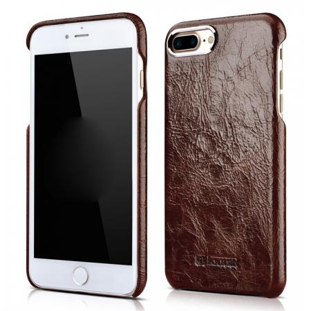 ICARER Metal Warrior Oil Wax Real Leather Back Case Cover for iPhone 7 Plus 5.5 inch - Coffee
