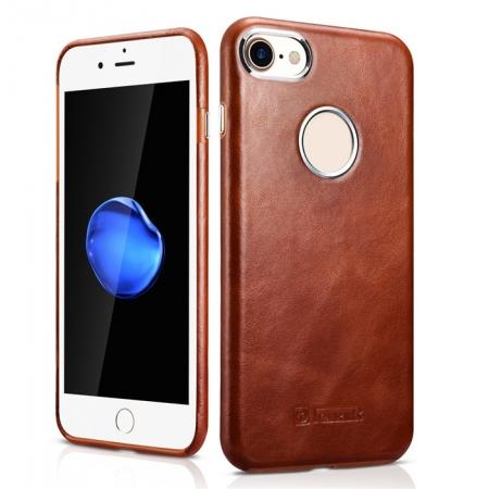 ICARER Vintage Genuine Leather Back Case Cover for iPhone 7 4.7 inch - Brown
