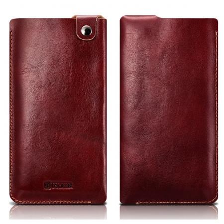 ICARER Vegetable Tanned Leather 5.5inch Straight Leather Pouch for iPhone 7 Plus - Wine Red