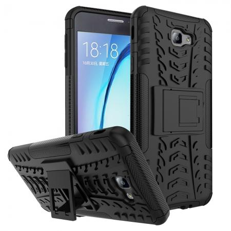 Shockproof Dual Layer Armor Kickstand Defender Protective Case For Samsung Galaxy J7 2017 - Black