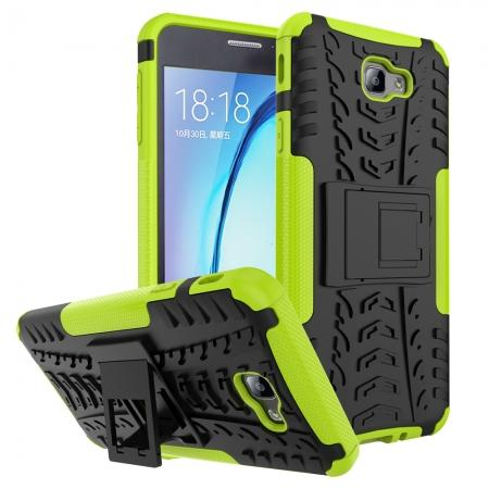 Shockproof Dual Layer Armor Kickstand Defender Protective Case For Samsung Galaxy J7 2017 - Green