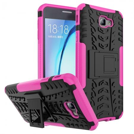 Shockproof Dual Layer Armor Kickstand Defender Protective Case For Samsung Galaxy J7 2017 - Hot pink