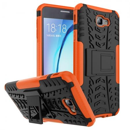 Shockproof Dual Layer Armor Kickstand Defender Protective Case For Samsung Galaxy J7 2017 - Orange