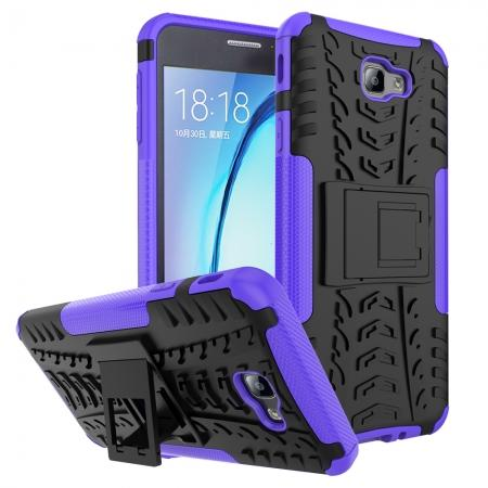 Shockproof Dual Layer Armor Kickstand Defender Protective Case For Samsung Galaxy J7 2017 - Purple