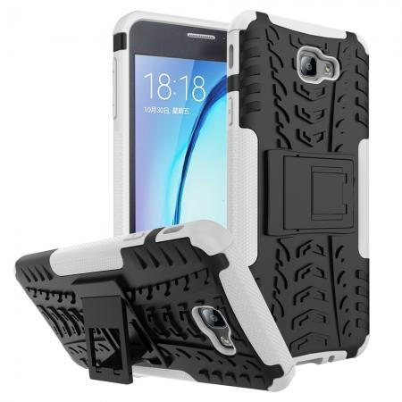 Shockproof Dual Layer Armor Kickstand Defender Protective Case For Samsung Galaxy J7 2017 - White