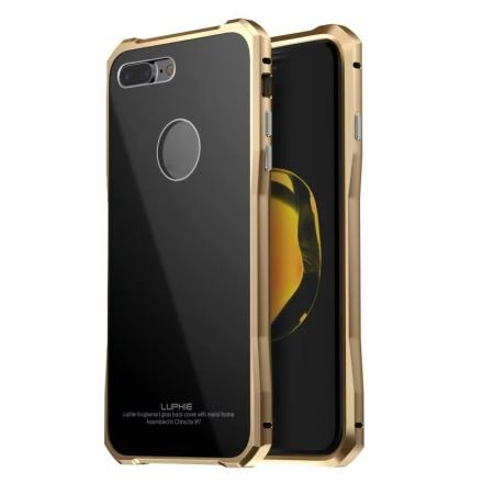 Luxury Metal Bumper Case & Gorilla Tempered Glass Back Cover For iPhone 7 Plus / 8 Plus - Gold&Black