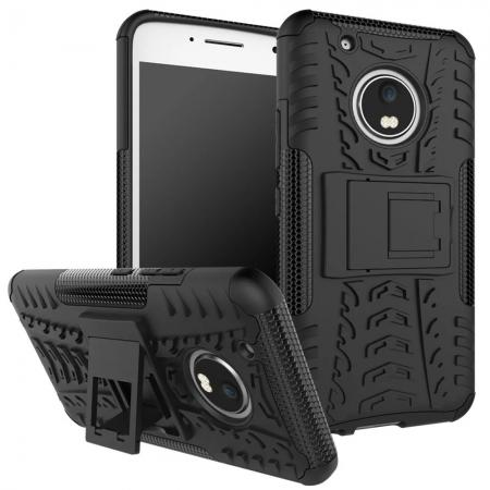 Tough Rugged Dual Layer Shockproof Kickstand Protective Case for Motorola Moto G5 Plus - Black