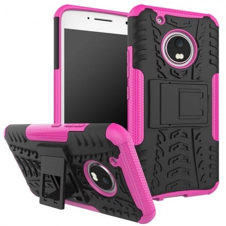 Tough Rugged Dual Layer Shockproof Kickstand Protective Case for Motorola Moto G5 Plus - Hot pink