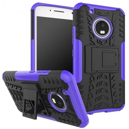 Tough Rugged Dual Layer Shockproof Kickstand Protective Case for Motorola Moto G5 Plus - Purple
