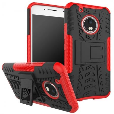 Tough Rugged Dual Layer Shockproof Kickstand Protective Case for Motorola Moto G5 Plus - Red