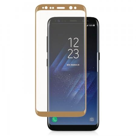 3D Curved Edge Ultra Clear Full Coverage 9H Hardness Tempered Glass Screen Protector for Samsung Galaxy S8+ Plus - Gold