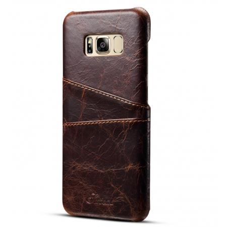 Credit Card Slot Pocket Genuine Leather Case Back Cover For Samsung Galaxy S8+ Plus - Coffee