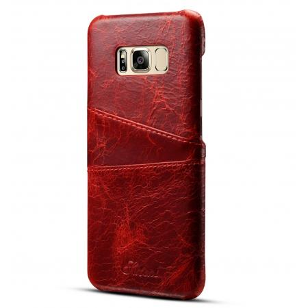 Credit Card Slot Pocket Genuine Leather Case Back Cover For Samsung Galaxy S8+ Plus - Red