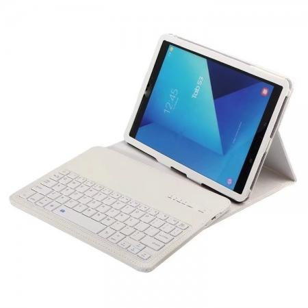 Detachable Bluetooth Wireless Keyboard Stand Leather Case for Samsung Galaxy Tab S3 9.7 T820 - White