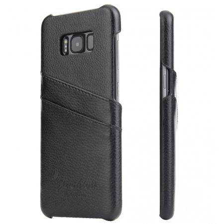 Genuine Leather Back Cover Case with 2 Credit Card ID Slots Holders for Samsung Galaxy S8+ Plus - Black