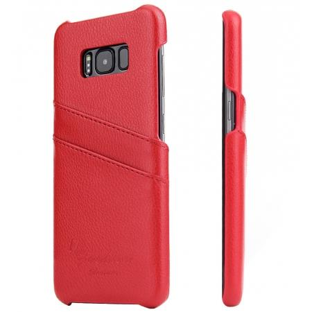 Genuine Leather Back Cover Case with 2 Credit Card ID Slots Holders for Samsung Galaxy S8+ Plus - Red