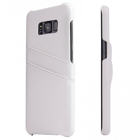 Genuine Leather Back Cover Case with 2 Credit Card ID Slots Holders for Samsung Galaxy S8+ Plus - White