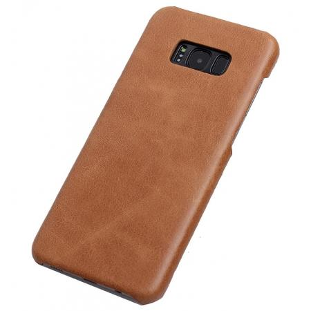 Genuine Leather Matte Back Hard Case Cover for Samsung Galaxy S8 Plus - Camel