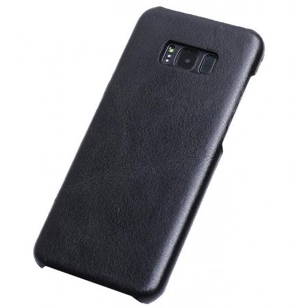 Genuine Leather Matte Back Hard Protective Case Skin Cover for Samsung Galaxy S8 - Black