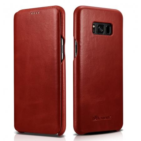 ICARER Curved Edge Vintage Series Cowhide Leather Side open Flip Folio Protective Case Cover for Samsung Galaxy S8+ Plus - Red