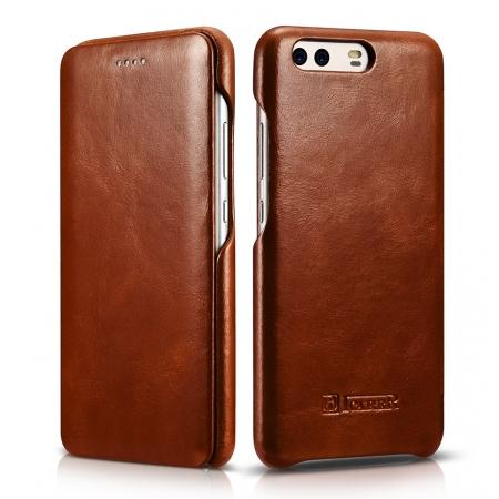 ICARER Curved Edge Vintage Series Cowhide Leather Slim Side Open Flip Case Cover for Huawei P10 - Brown
