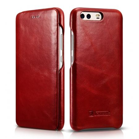 ICARER Curved Edge Vintage Series Cowhide Leather Slim Side Open Flip Case Cover for Huawei P10 - Red