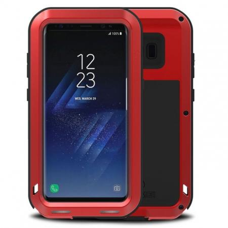 Metal Extreme Aluminum Heavy Duty Shockproof Water Resistant Dust/Dirt/Snow Proof Case for Samsung Galaxy S8 Plus - Red
