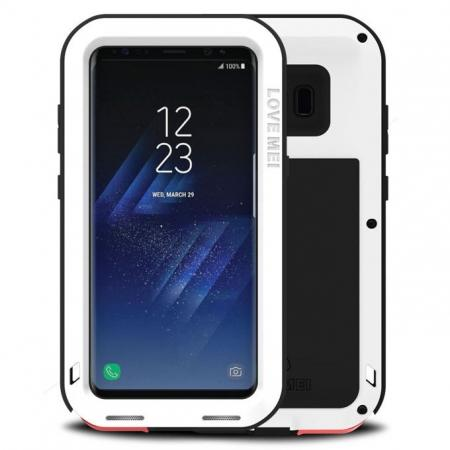 Metal Extreme Aluminum Heavy Duty Shockproof Water Resistant Dust/Dirt/Snow Proof Case for Samsung Galaxy S8 Plus - White