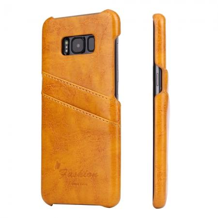 Oil Wax Pu Leather Credit Card Holder Back Case Cover for Samsung Galaxy S8 Plus - Orange