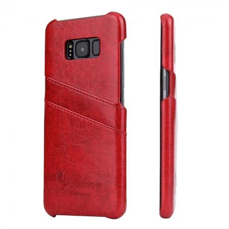 Oil Wax Pu Leather Credit Card Holder Back Case Cover for Samsung Galaxy S8 Plus - Red