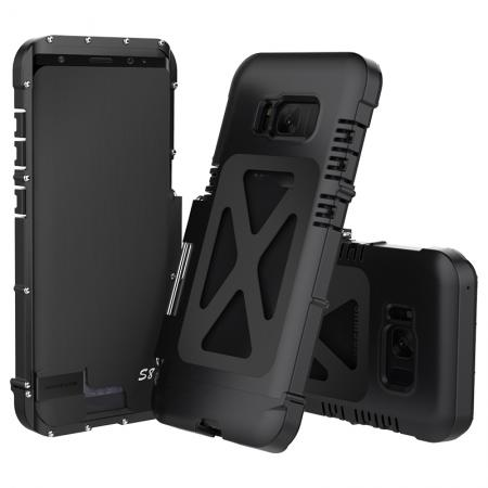 R-JUST Aluminum Metal  Shockproof Full Body Case For Samsung Galax S8 Plus - Black