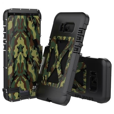 R-JUST Aluminum Metal  Shockproof Full Body Case For Samsung Galax S8 Plus - Camouflage