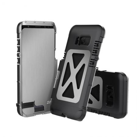 R-JUST Aluminum Metal  Shockproof Full Body Case For Samsung Galax S8 Plus - Silver