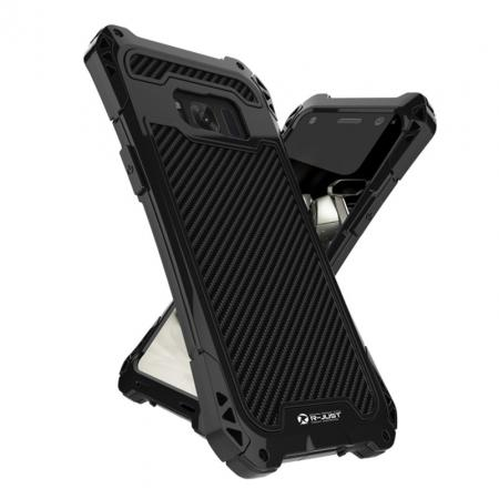 R-just Full-body Aluminum Alloy Metal Bumper Shockproof Dropproof Cover Case For Samsung Galaxy S8 - Black