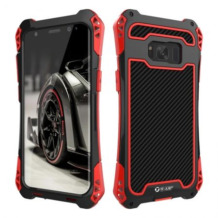 R-just Full-body Aluminum Alloy Metal Bumper Shockproof Dropproof Cover Case For Samsung Galaxy S8 - Red&Black