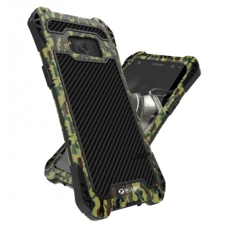 R-just Powerful Anti-drop Shockproof Dirt Proof Metal Aluminum Cover Case for Samsung Galaxy S8+ Plus - Camouflage