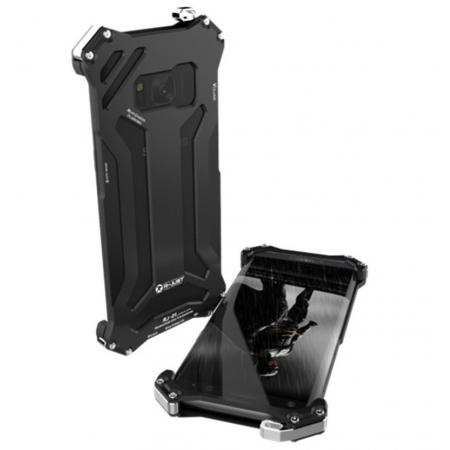 R-JUST Shockproof Dropproof Aluminum Metal Case for Samsung Galaxy S8+ Plus - Black