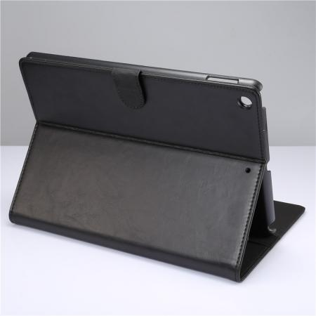 Crazy Horse PU Leather Folio Case Magnetic Closure Smart Cover With Stand For New iPad 9.7 2017 - Black