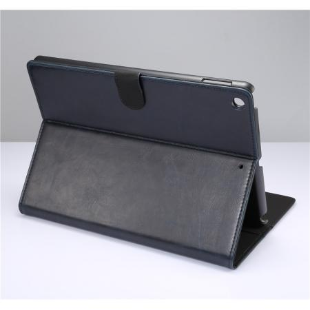 Crazy Horse PU Leather Folio Case Magnetic Closure Smart Cover With Stand For New iPad 9.7 2017 - Dark Blue