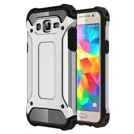Dual Layer Shockproof Armor Case Cover for Samsung Galaxy J2 Prime - Silver