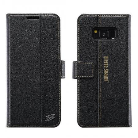 Genuine Leather Wallet Case Credit Card Protector for Samsung Galaxy S8+ Plus - Black