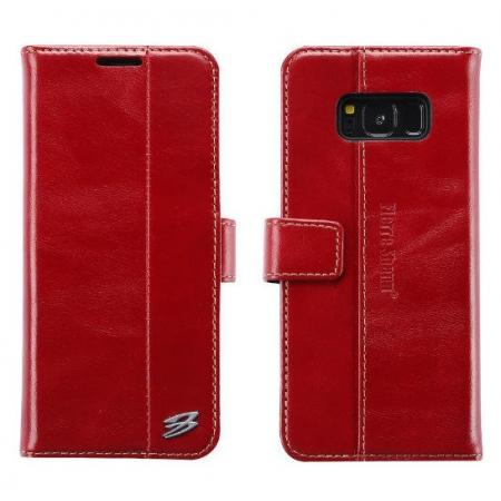 Genuine Leather Wallet Case Credit Card Protector for Samsung Galaxy S8+ Plus - Red