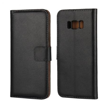 Genuine Leather Wallet Flip Cover Case Card Holder for Samsung Galaxy S8 - Black