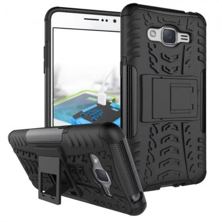 Hybrid TPU Hard Shockproof Cover Case Kickstand for Samsung Galaxy J2 Prime - Black
