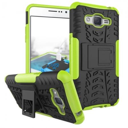 Hybrid TPU Hard Shockproof Cover Case Kickstand for Samsung Galaxy J2 Prime - Green