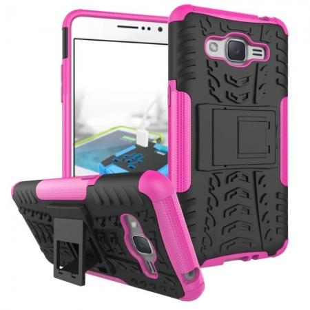 Hybrid TPU Hard Shockproof Cover Case Kickstand for Samsung Galaxy J2 Prime - Hot Pink