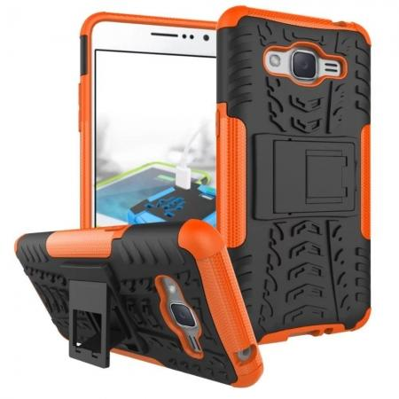 Hybrid TPU Hard Shockproof Cover Case Kickstand for Samsung Galaxy J2 Prime - Orange